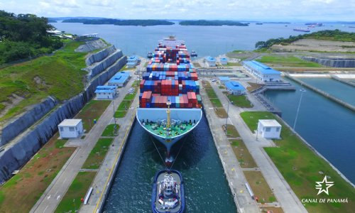 The Neopanamax transit #2000 on the Expanded Panama Canal with the Cosco Yantian.